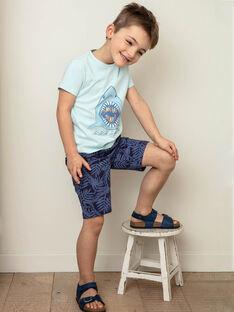 T-shirt manches courtes bleu ciel imprimé requin enfant garçon ZUZAGE1 / 21E3PGL3TMC614