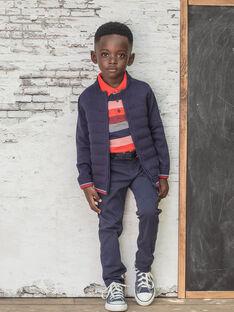 Gilet bleu foncé en maille enfant garçon BUXATAGE1 / 21H3PGB3GIL070