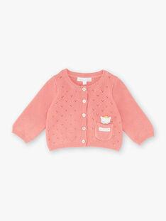 Cardigan bois de rose en tricot fantaisie bébé fille ZOUNIA / 21E0CFG1CAR312