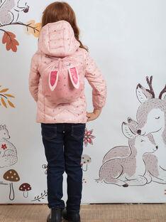 Doudoune matelassée rose clair imprimée et sac lapin enfant fille BRODOUNETTE 1 / 21H2PFG1DTV321