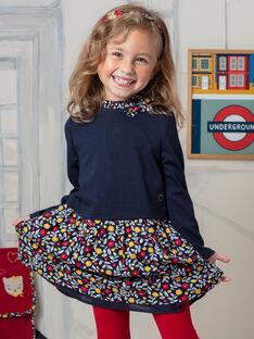 Robe manches longues bleu marine à motifs fleuris enfant fille BIGLETTE / 21H2PF51ROB070
