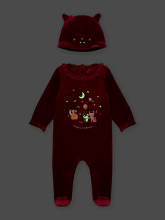 Grenouillère à motifs phosphorescents et bonnet chat bébé fille BECHARLINE / 21H5BFH1GRE709