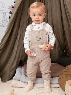 Salopette longue beige à motifs fantaisie bébé garçon BADARWIN / 21H1BG21SALA013