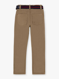 Pantalon droit beige foncé et ceinture enfant garçon BUXIGAGE3 / 21H3PGB7PAN604
