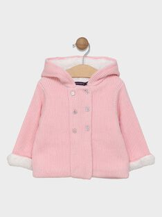 Veste rose en tricot doublée fausse fourrure bébé fille SIMANON / 19H1BF71VES301