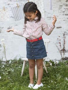 Jupe courte en jean et ceinture enfant fille BABETTE / 21H2PF11JUPP269
