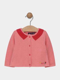 Cardigan rose avec col contrasté bébé fille SACLAIRE / 19H1BF31CAR305