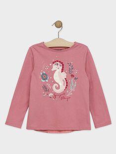 Tee-shirt fantaisie rose dos plissé fille SYANETTE / 19H2PFE1TML307