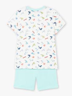 Ensemble de plage écru et bleu T-shirt et short enfant garçon ZIPALAGE4 / 21E3PGQ3ENS001