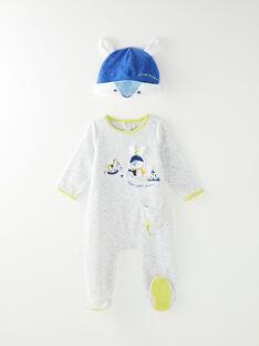 Dors bien et son bonnet en velours gris chiné bébé garçon VELEO / 20H5BG27GREJ920
