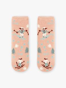 Chaussettes roses anti-dérapantes à imprimé ski enfant fille BLATUETTE / 21H4PFO1SOA318