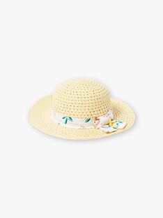 Chapeau de paille ruban imprimés citrons enfant fille ZICHUETTE / 21E4PFO1CHAB104