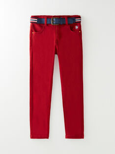 Pantalon bordeaux stretch vendu avec sa ceinture VASLIMAGE / 20H3PG61PAN719