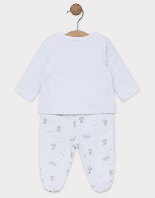 Ensemble naissance cardigan et Pantalon à pied en jersey bébé mixte SYANDRE / 19H0NM12ENS000