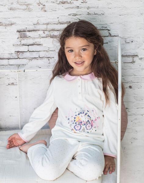 Pyjama écru motif princesse enfant fille BEBULETTE / 21H5PF61PYJ001