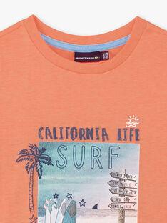 T-shirt orange imprimé surf enfant garçon ZOAMAGE / 21E3PGU1TMCD311