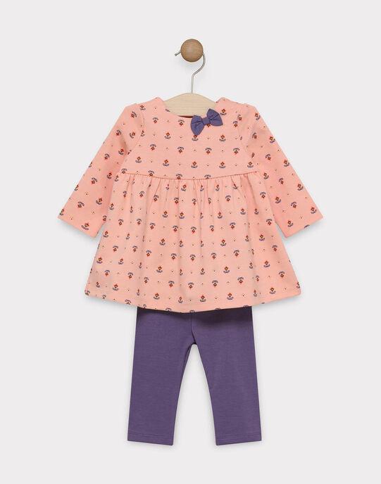 Ensemble robe imprimée rose avec legging bébé fille SAGALA / 19H1BF61ENS413