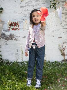 Cardigan maille fine à imprimé fleuri enfant fille BAZIETTE / 21H2PF11CAR001