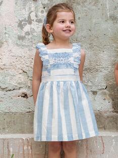 Robe brodée à rayures blanches et bleu ciel enfant fille ZUROBETTE / 21E2PFT1ROB001