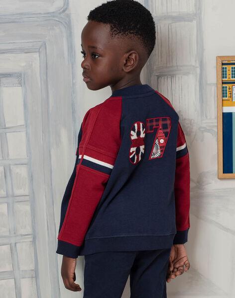 Gilet en maille bleu marine et rouge enfant garçon BEDRAGE / 21H3PG51GIL070