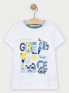 Tee-shirt manches courtes écru garçon  TIDOAGE / 20E3PGO1TMC001