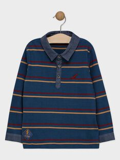 Polo bleu à rayures garçon SELIMAGE / 19H3PGI1POL717