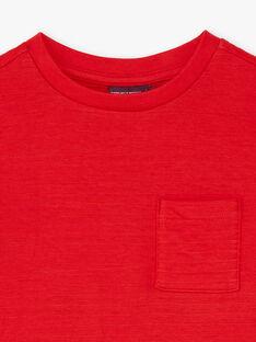 T-shirt uni rouge détail poche enfant garçon BUTILAGE2 / 21H3PGB4TML050
