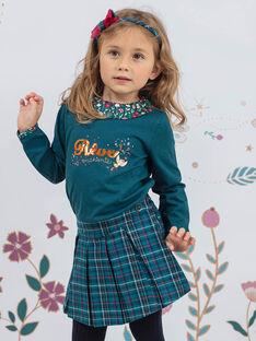 Jupe-short bleu canard à carreaux enfant fille BOELIETTE / 21H2PF91SHO714