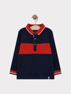 Polo bleu nuit et rouge en piqué garçon SAPAGE / 19H3PG31POL713