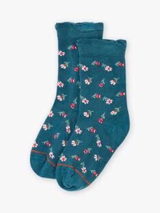 Chaussettes bleues motifs fleurs enfant fille BOPUETTE / 21H4PF91SOQ714