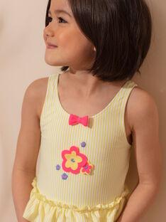 Maillot de bain 1 pièce jaune à rayures blanches enfant fille ZAINAETTE / 21E4PFR2D4KB102