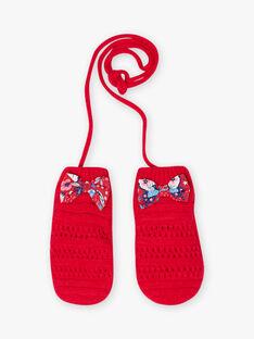 Moufles en maille rouge enfant fille BLOZAPETTE / 21H4PFE1GAN308