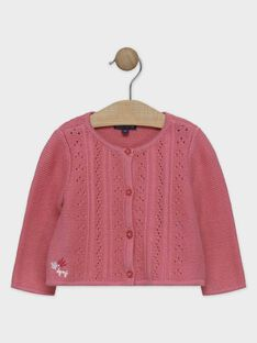 Cardigan en tricot rose bébé fille SANAELLE / 19H1BFE2CAR307