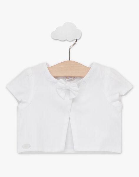 Cardigan blanc manches courtes et nœud bébé fille TALINA / 20E1BFJ2CAR000