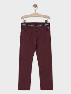Pantalon pourpre en chevron garçon SIROUAGE / 19H3PGO1PANF511