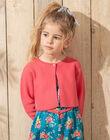 Cardigan manches longues rose à broderie fleurs enfant fille TEUKYETTE / 20E2PFX1CARF507