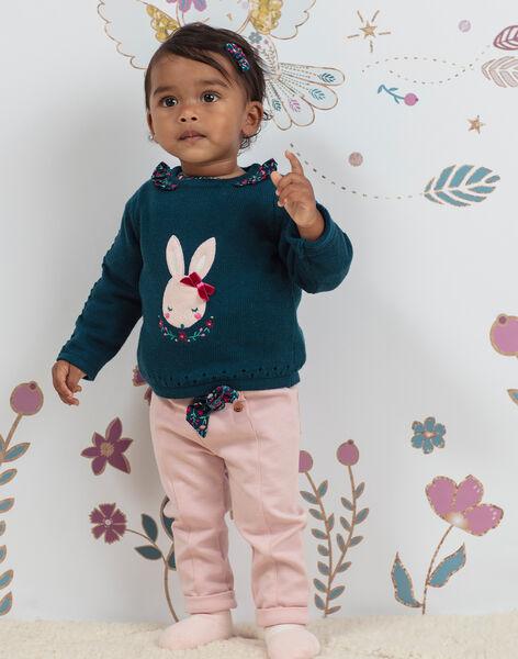 Pantalon rose pâle et ceinture bébé fille BAGARA / 21H1BF91PAND329
