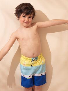 Short de bain bleu et jaune imprimé à rayures enfant garçon ZYMAILLAGE / 21E4PGR6MAI102