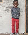 Pantalon droit rouge et ceinture enfant garçon  BUXIGAGE2 / 21H3PGB4PAN501