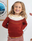 Pull esprit jacquard noisette enfant fille BULLETTE / 21H2PFJ1PUL821