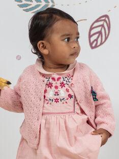 Gilet maille ajourée rose bébé fille BAGIANE / 21H1BF91CARD329