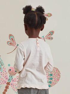 T-shirt rose clair motifs libellules à paillettes enfant fille BRIKETTE / 21H2PFM1TML321
