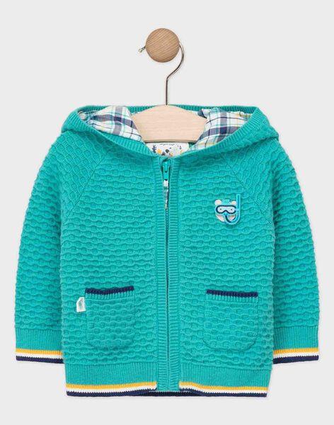 Gilet à capuche bébé garçon bleu turquoise  TAEMILIO / 20E1BGD1GIL209