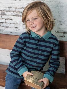 Polo bleu marine à rayures enfant garçon BUXAGE3 / 21H3PGB1POL202