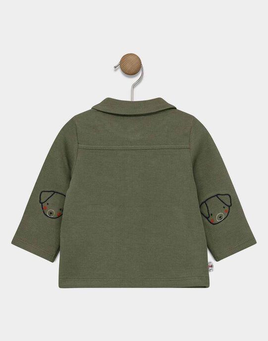 Gilet boutonné sur le devant bébé garçon couleur kaki SADAVID / 19H1BG31GIL628
