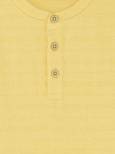 T-shirt jaune brodé col rond enfant garçon ZAXATAGE1 / 21E3PGK4TML010