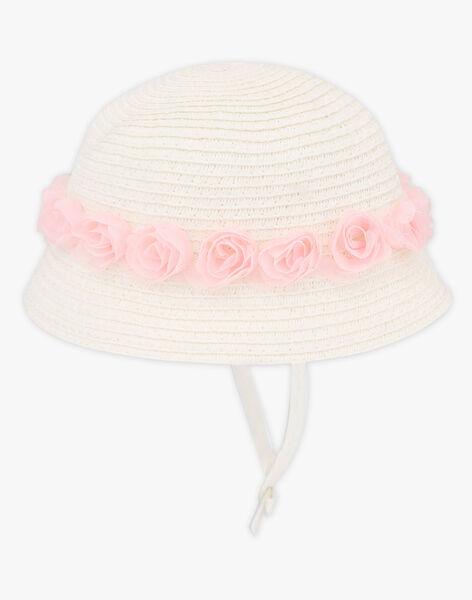 Chapeau de paille blanc à fleurs bébé fille TALUCIE / 20E4BFJ2CHA000