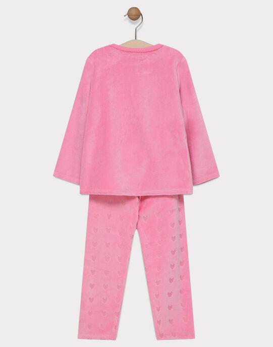 Pyjama velours et velours dévoré rose uni animation vétérinaire petite fille SYLOVETTE / 19H5PF52PYJD300