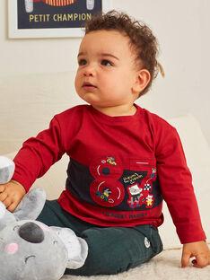 T-shirt manches longues rouge motif fantaisie voiture bébé garçon BAPEPITO / 21H1BGM1TMLF528