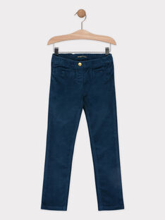 Pantalon velours bleu canard fille SAVELETTE 4 / 19H2PFH2PAN714